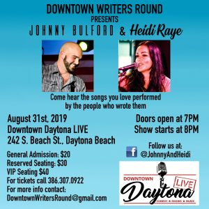 Downtown Writers Round - hosted by Johnny & Heidi Bulford @ Downtown Daytona Live