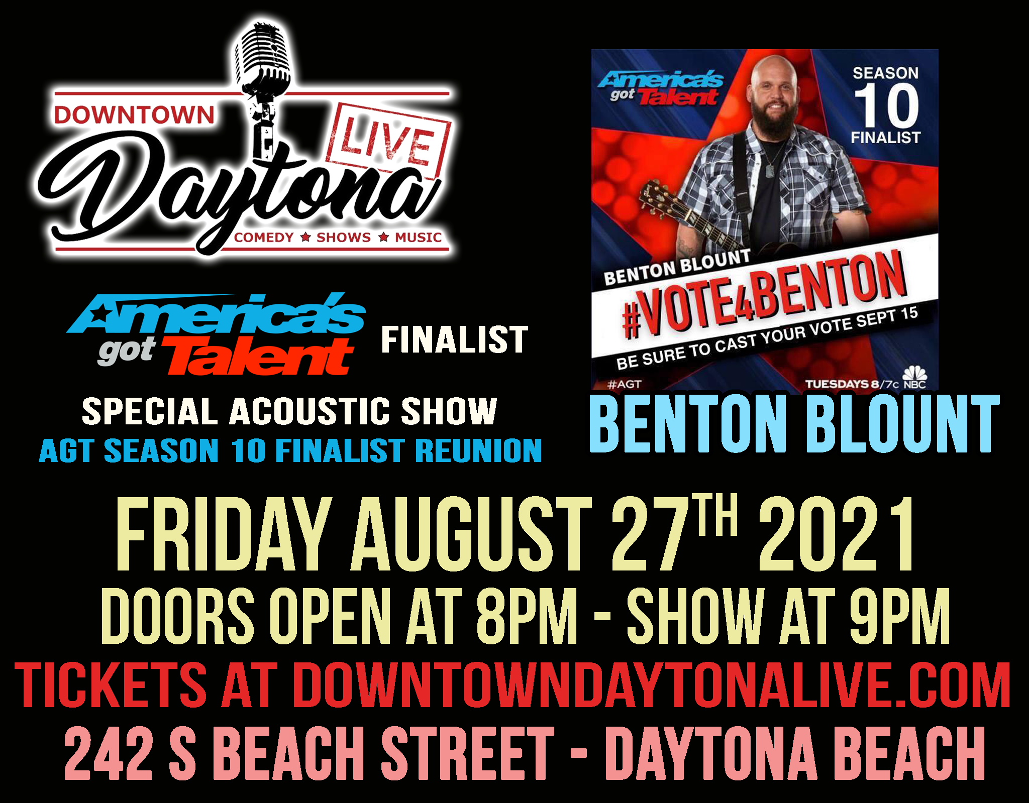 Special Acoustic Show with Benton Blount @ Downtown Daytona Live