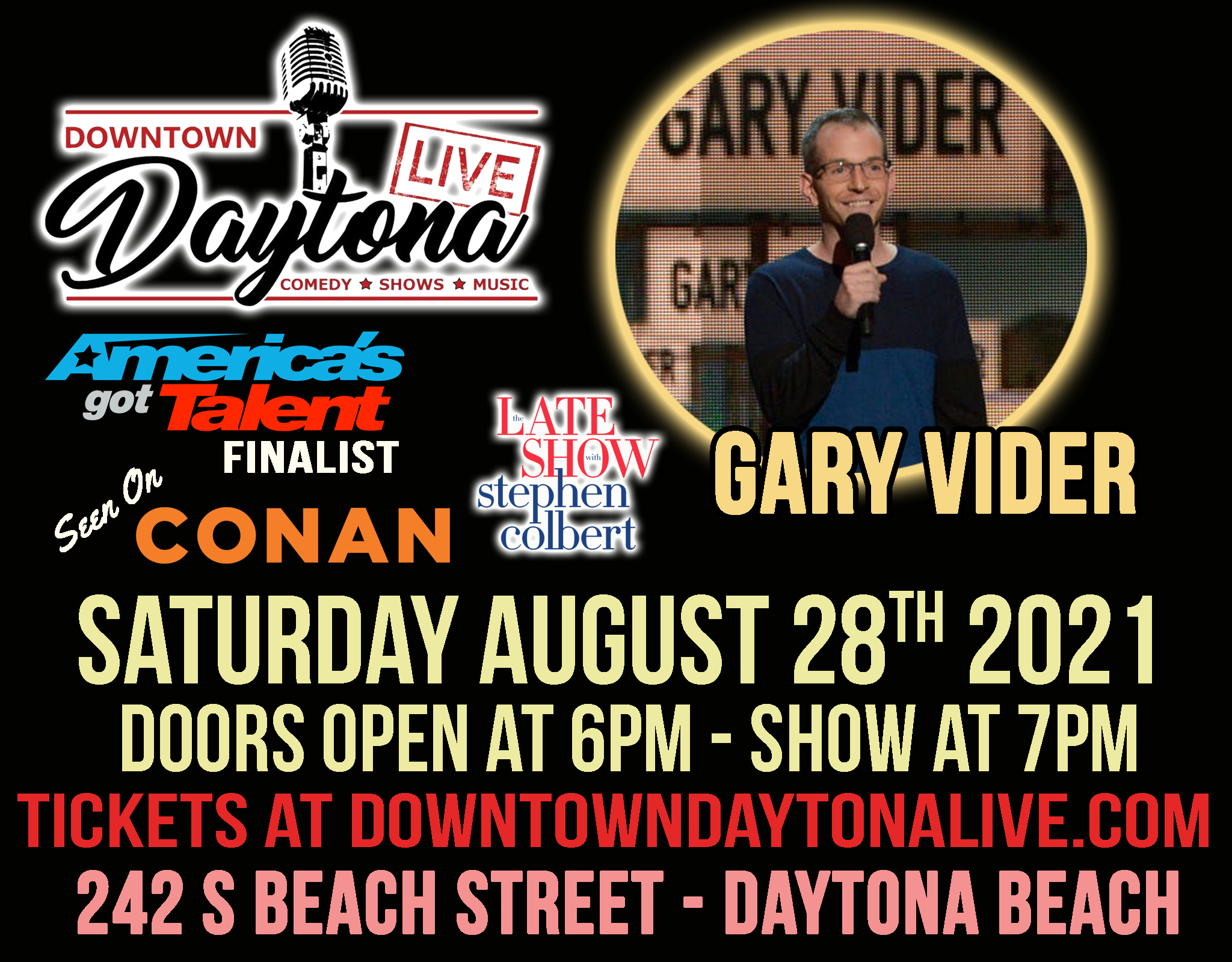 Comedy Night with Gary Vider (7PM Show) @ Downtown Daytona Live